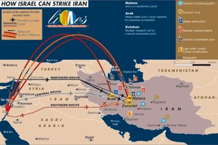 O mapa mostra as alternativas para um ataque israelense às centrais nucleares do Irã. O controle do espaço aéreo sírio é um dos elementos fundamentais dessa estratégia.