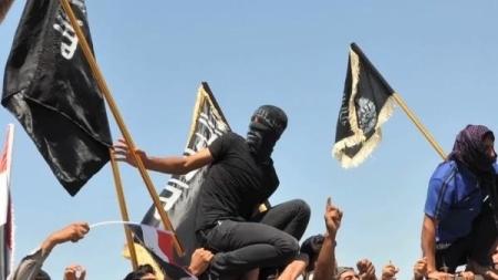 Terroristas do Exército Islâmico do Iraque e do Levante comemoram a tomada de Fallujah.