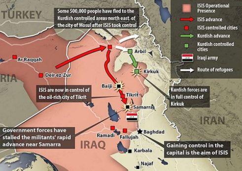 Avanço do ISIS mapa