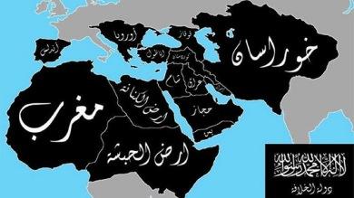 Mapa do Estado Islâmico mostra as zonas que objetivam para a expansão de seu Califado.