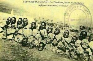 Zombar do Islã e dos muçulmanos é uma velha tradição da França. Esta estampa retrata muçulmanos decapitados em Marrocos pelos franceses e utilizadas como selo francês. 1922