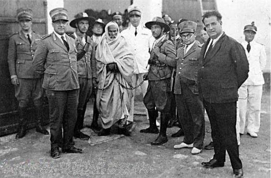 Omar al Mokhtar foi o líder do povo líbio em sua revolta contra as forças coloniais italianas. Foi preso e enforcado em setembro de 1931.